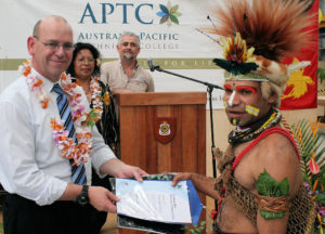 AusAID Director General congratulates graduate from the APTC, Port Moresby