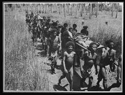"""Native carriers """"Fuzzy Wuzzy Angels"""" are shown bringing wounded troops into an advanced American dressing station in the Buna area"""